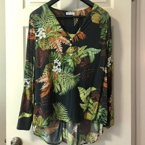Villa green botanical print tunic L